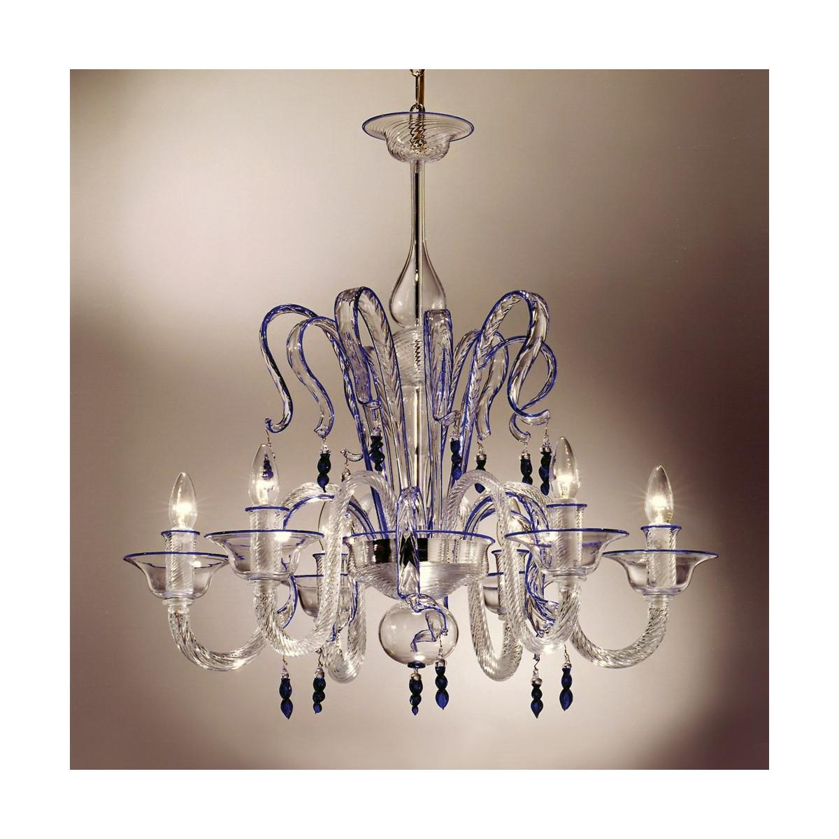 """Zaffiro"" lustre en verre de Murano cristal et bleu 6 lumières"