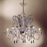 """Zaffiro"" crystal and blue Murano glass chandelier"
