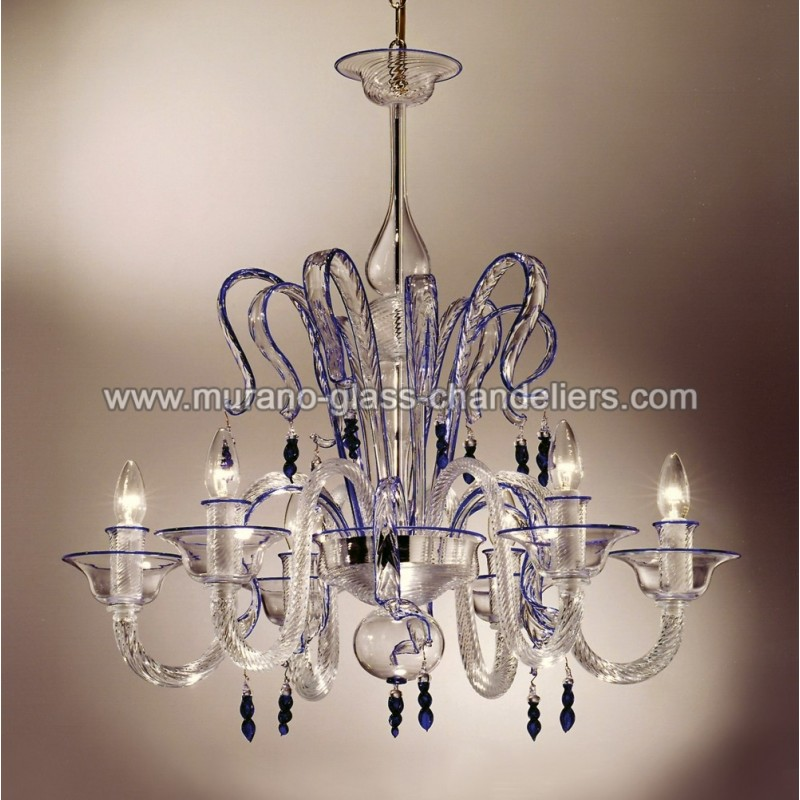 "Small Murano Crystal Chandelier: ""Zaffiro"" Crystal And Blue Murano Glass Chandelier"