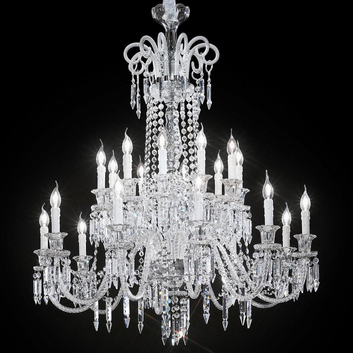 """""""Cima"""" grand lustre vénitienne en cristal - 10+10 lumières - transparent"""