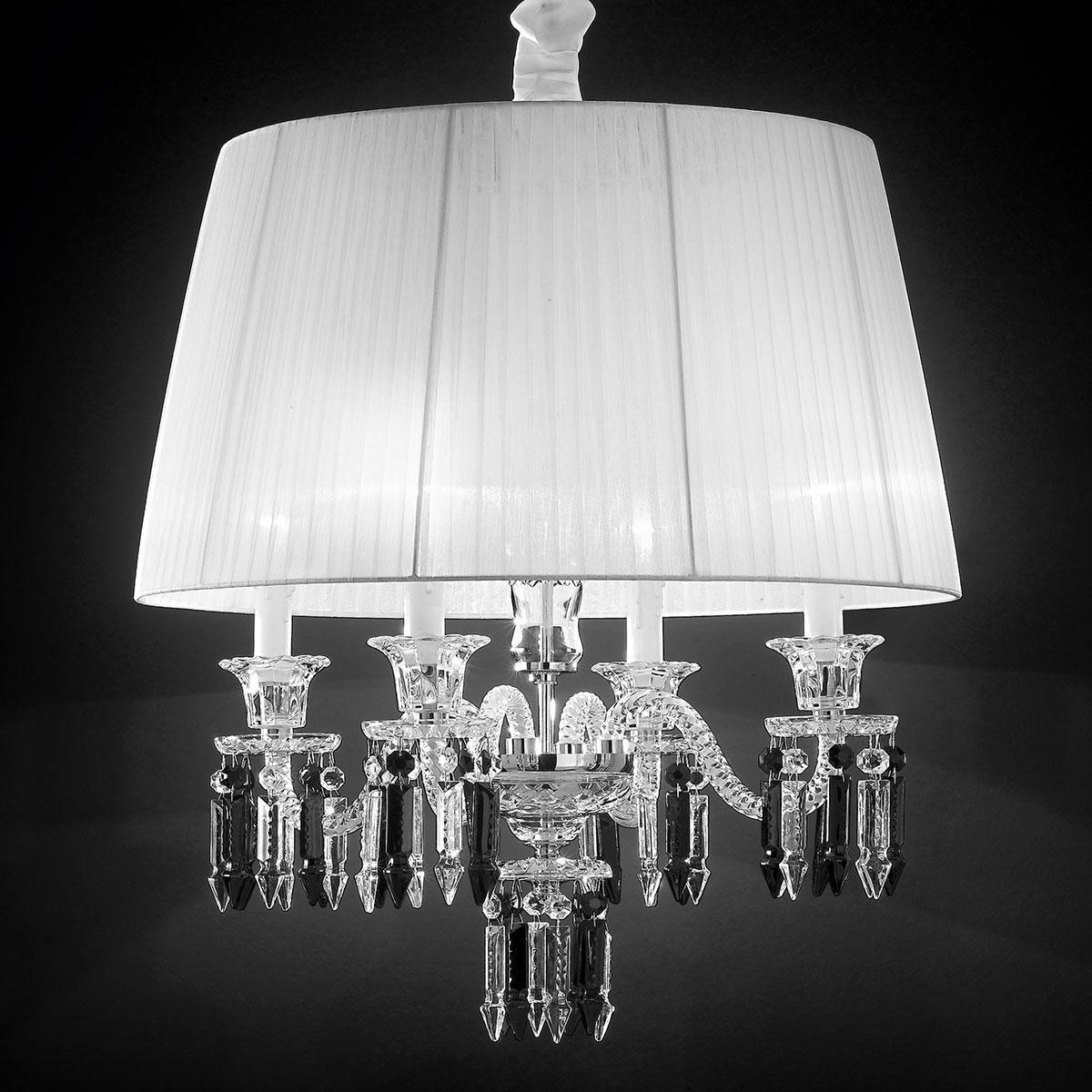 """""""Cima"""" suspension vénitienne en cristal - 4 lumières - transparent avec abat-jour"""