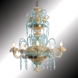 """Cigni"" 6 lights gold and azure Murano glass chandelier"