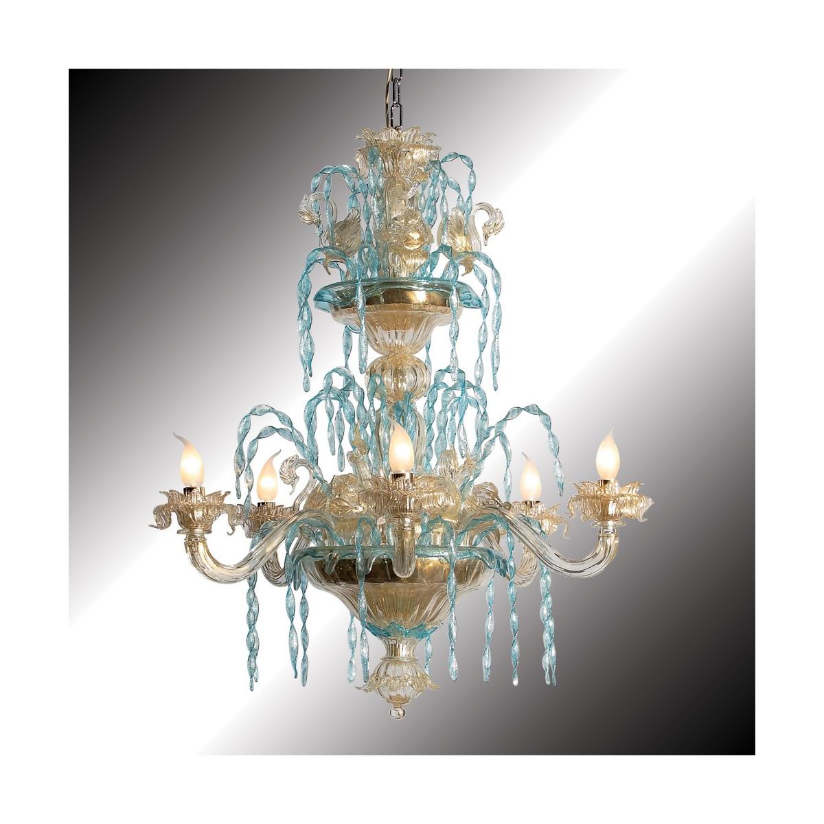 """""""Cigni"""" lustre en verre de Murano or et azur 6 lumières"""