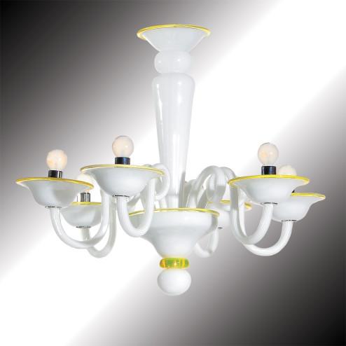 """""""Sorbetto"""" lustre en verre de Murano blanc et jaune"""