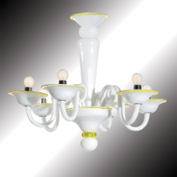 """Sorbetto"" white and yellow Murano glass chandelier"