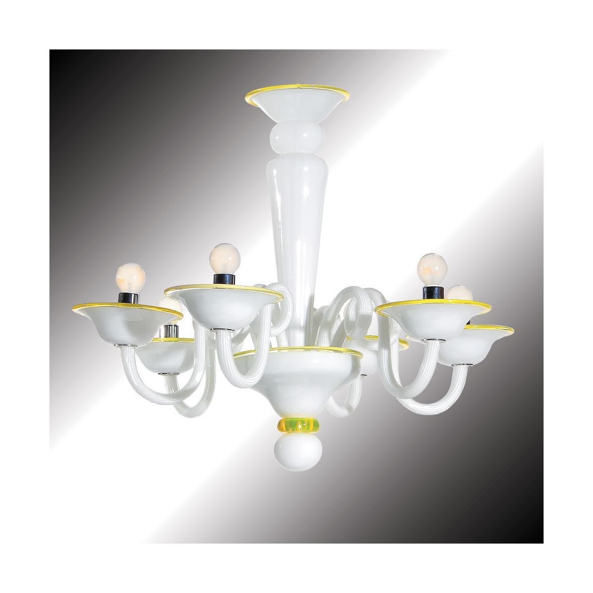 """""""Sorbetto"""" lustre en verre de Murano blanc et jaune  6 lumières"""