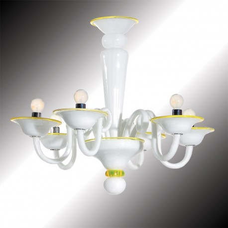 """Sorbetto"" 6 lights white and yellow Murano glass chandelier"