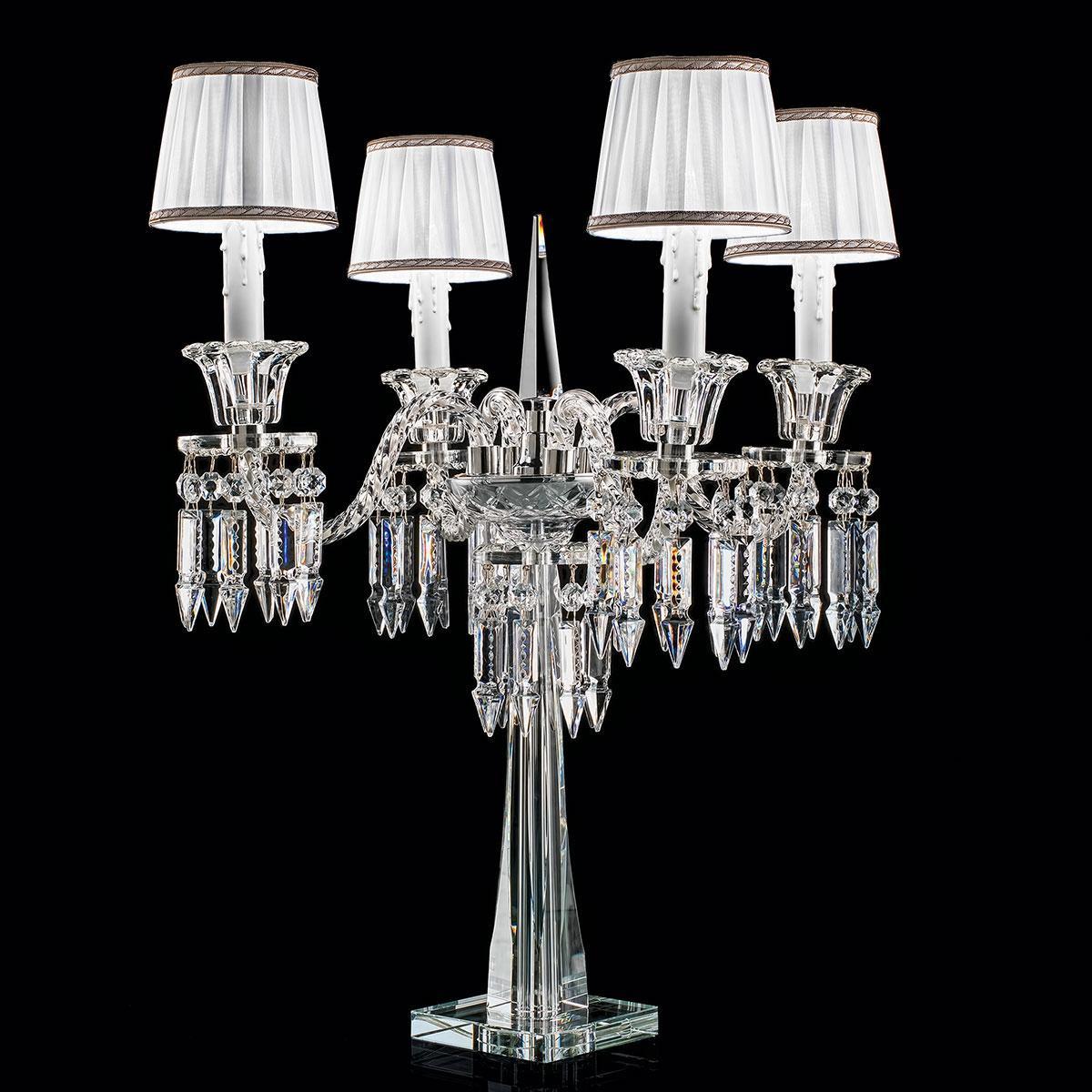 """""""Cima"""" lampe de table vénitienne en cristal with lampshades - 4 lumières - transparent"""