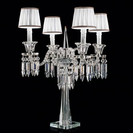 """Cima"" venetian crystal table lamp with lampshades  - 4 lights - transparent"