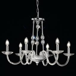 """Gentileschi"" venetian crystal chandelier - 6 lights - transparent with Swarovski pendants"
