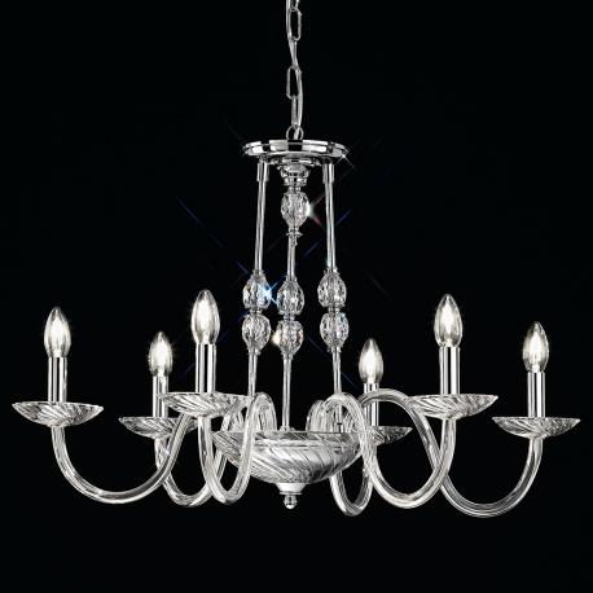 """""""Gentileschi"""" lampara veneciana en cristal - 6 luces - transparent con Swarovski colgantes"""