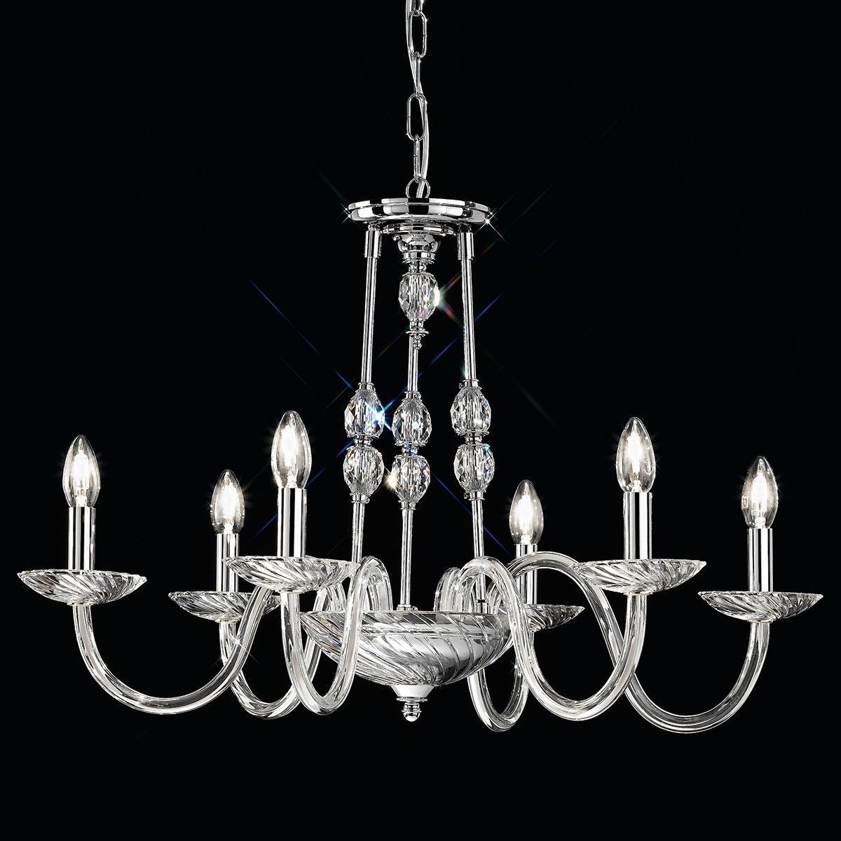 """""""Gentileschi"""" venezianischer kristall kronleuchter - 6 flammig - transparent mit Swarovski Anhänger"""
