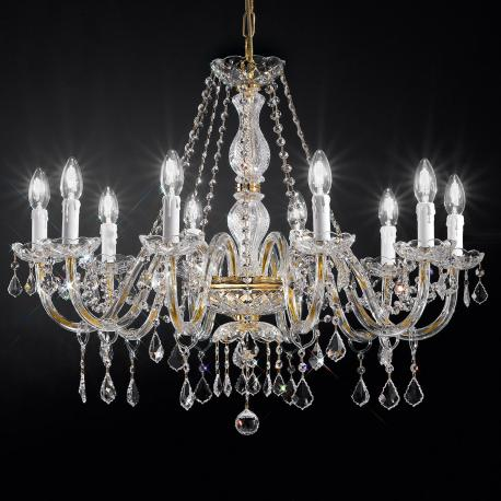 """Botticelli"" venetian crystal chandelier - 10 lights - transparent with Asfour venetian crystal"