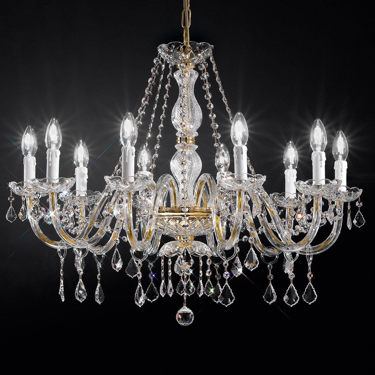 """Botticelli"" venezianischer kristall kronleuchter - 10 flammig - transparent mit kristal Asfour"