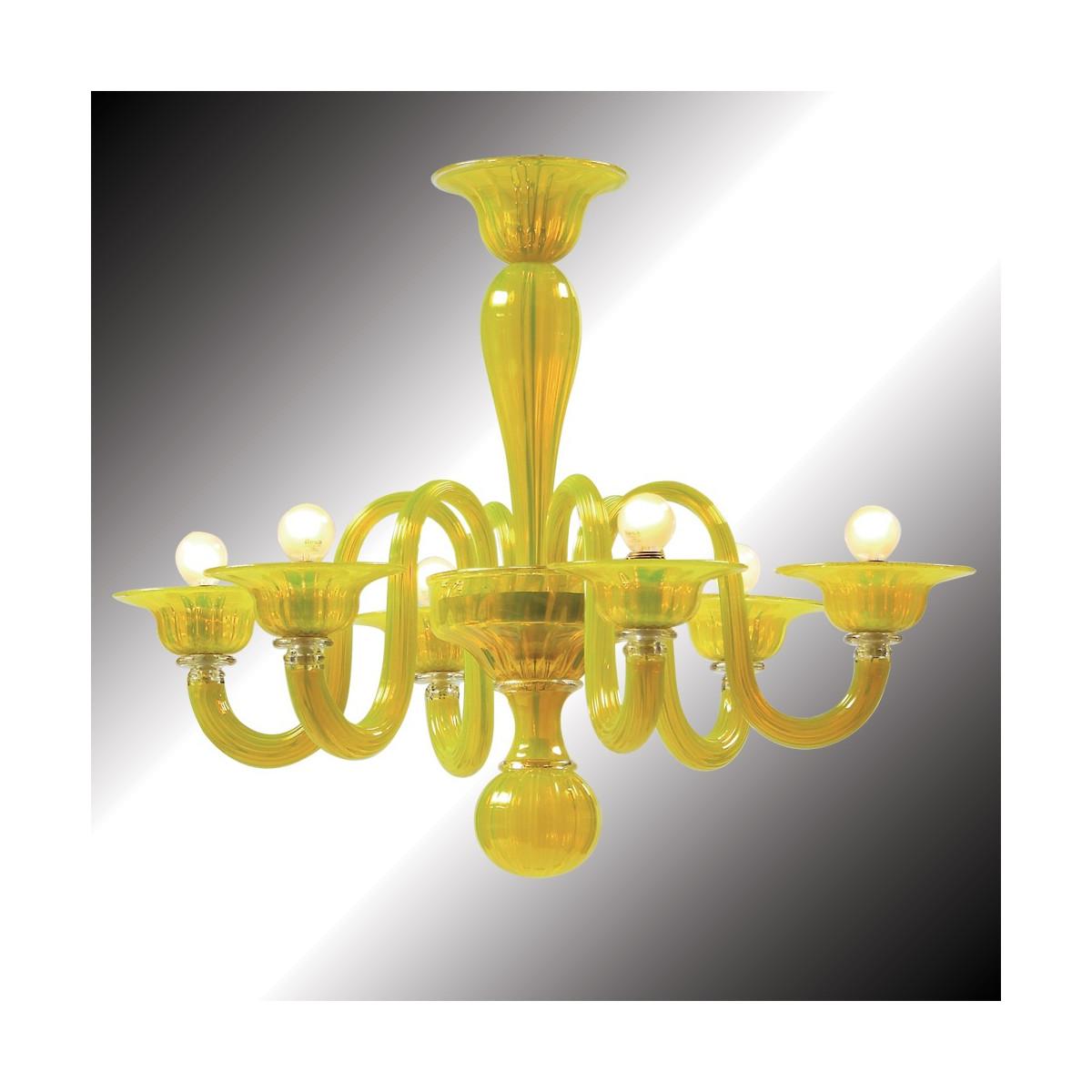 """""""Limone"""" lustre en verre de Murano jaune 6 lumières"""