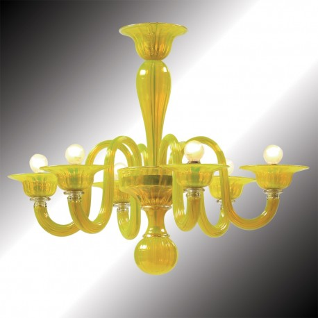 """Limone"" 6 lights yellow Murano glass chandelier"
