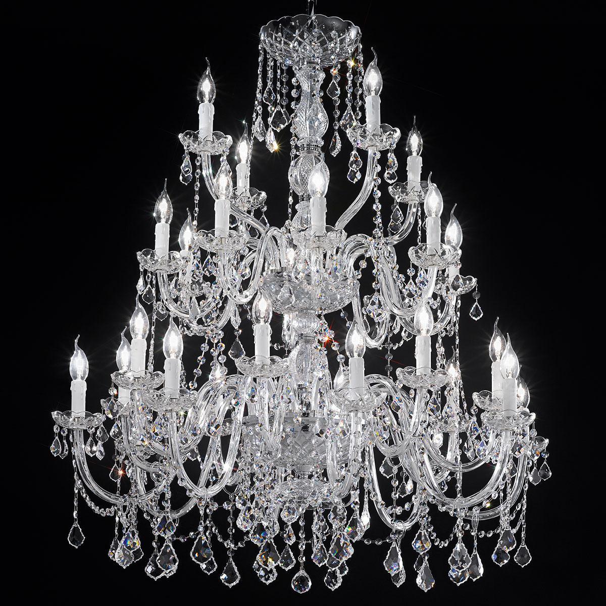 """""""Botticelli"""" grand lustre vénitienne en cristal - 16+8+4 lumières - transparent avec Asfour cristal"""