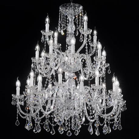"""Botticelli"" large venetian crystal chandelier - 16+8+4 lights - transparent with Asfour venetian crystal"