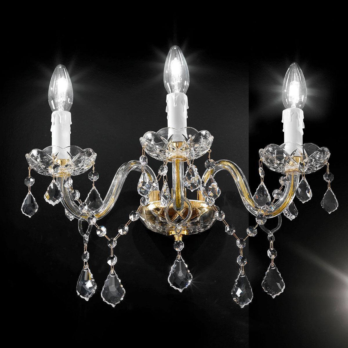 """Botticelli"" venezianischer kristall wandleuchte - 3 flammig - transparent mit kristal Asfour"