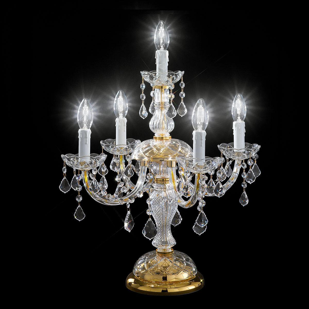 """""""Botticelli"""" lampara de sobremesa veneciana en cristal - 4+1 luces - transparente con cristal Asfour"""