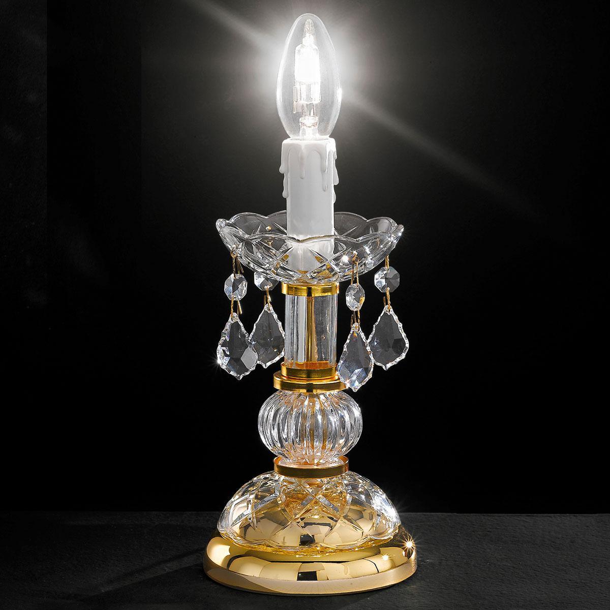 """Botticelli"" venetian crystal bedside lamp - 1 light - transparent with Asfour venetian crystal"