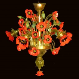 """Papaveri"" 5 lights  Murano glass chandelier"