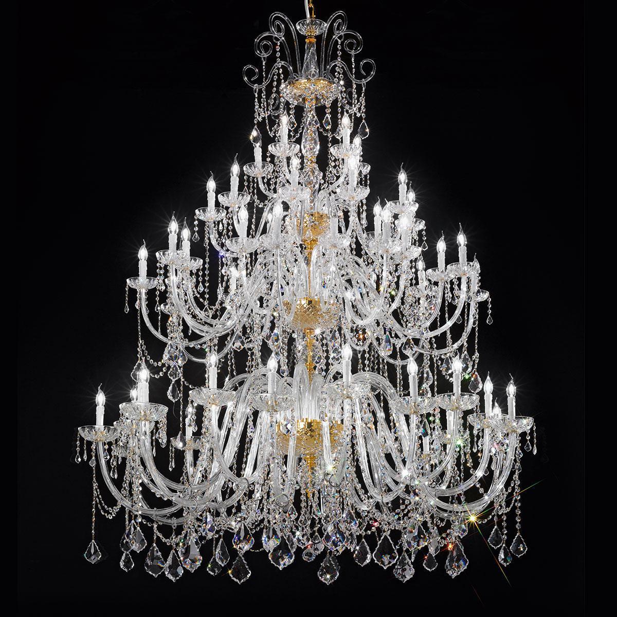"""""""Veronese"""" grand lustre vénitienne en cristal - 20+20+10+5 lumières - transparent avec Asfour cristal"""