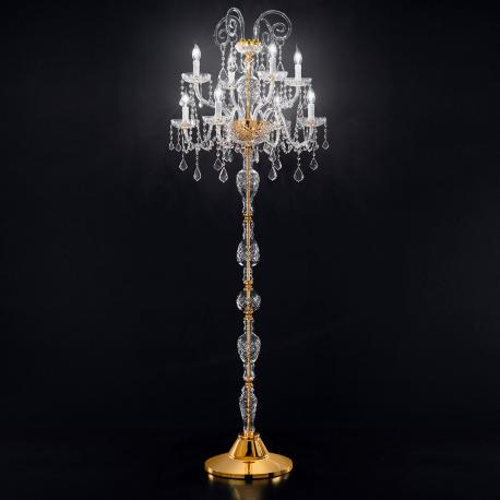 """Veronese"" venetian crystal floor lamp - 4+4 lights - transparent with Asfour venetian crystal"