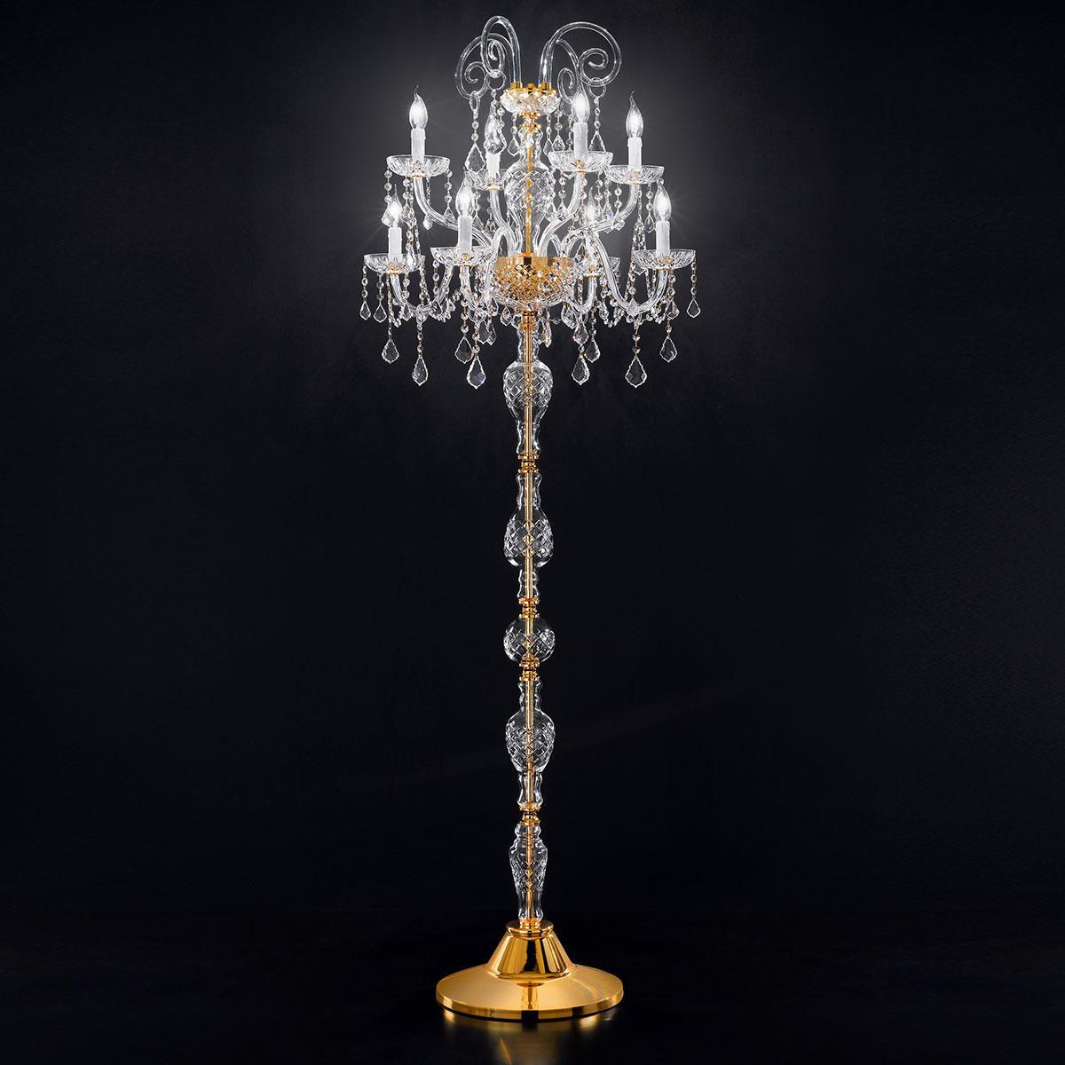 """""""Veronese"""" venezianischer kristall stehleuchte - 4+4 flammig - transparente mit kristal Asfour"""