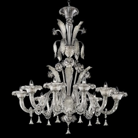 """Correr"" 8 lights Murano chandelier - silver and dark blue"