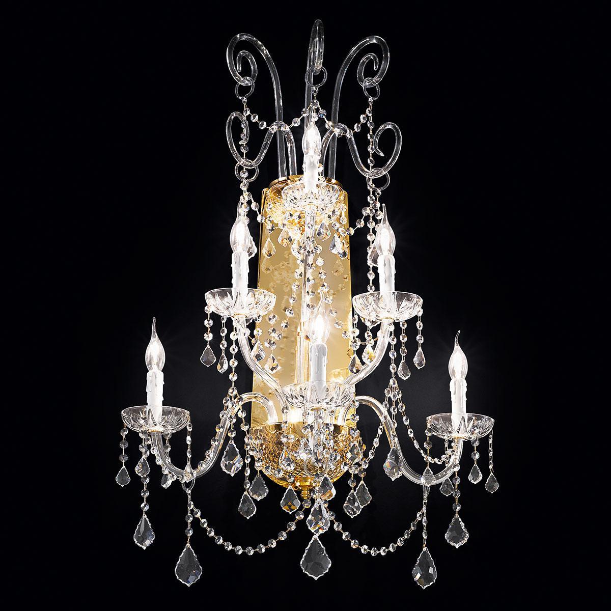 """""""Veronese"""" aplique veneciano de pared en cristal - 3+2+1 luces - transparente con cristal Asfour"""