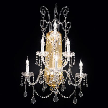 """Veronese"" venetian crystal wall sconce - 3+2+1 lights - transparent with Asfour venetian crystal"