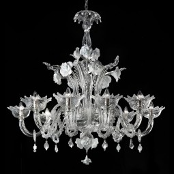 """Artico"" transparent and white Murano glass chandelier"