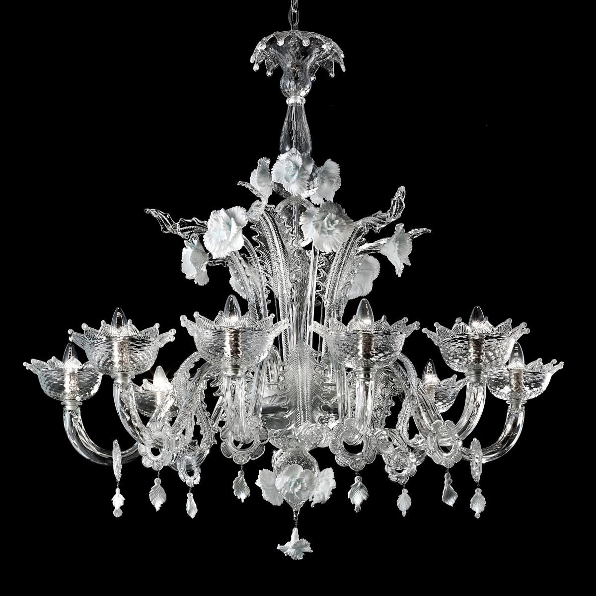 """""""Artico"""" lustre en verre de Murano transparent et blanc 8 lumières"""