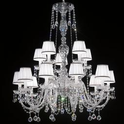 """Barbieri"" venetian crystal chandelier with lampshades - 10+5 lights - transparent with Asfour venetian crystal"