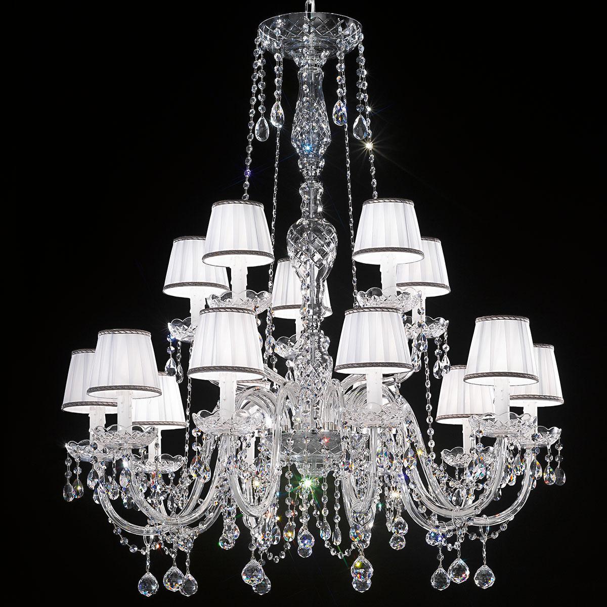 """Barbieri"" lampara veneciana en cristal con pantallas - 10+5 luces - transparente con cristal Asfour"