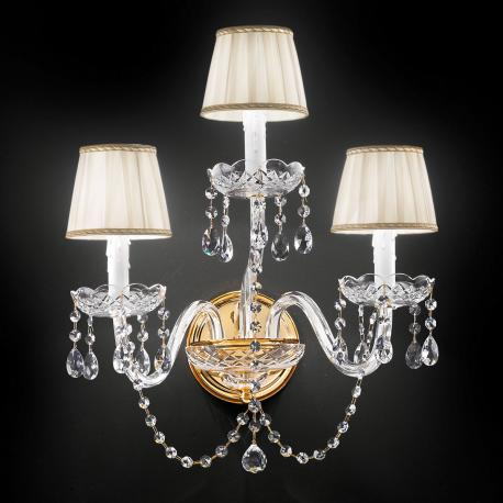 """Barbieri"" venetian crystal wall sconce - 2+1 lights - transparent with Asfour venetian crystal"