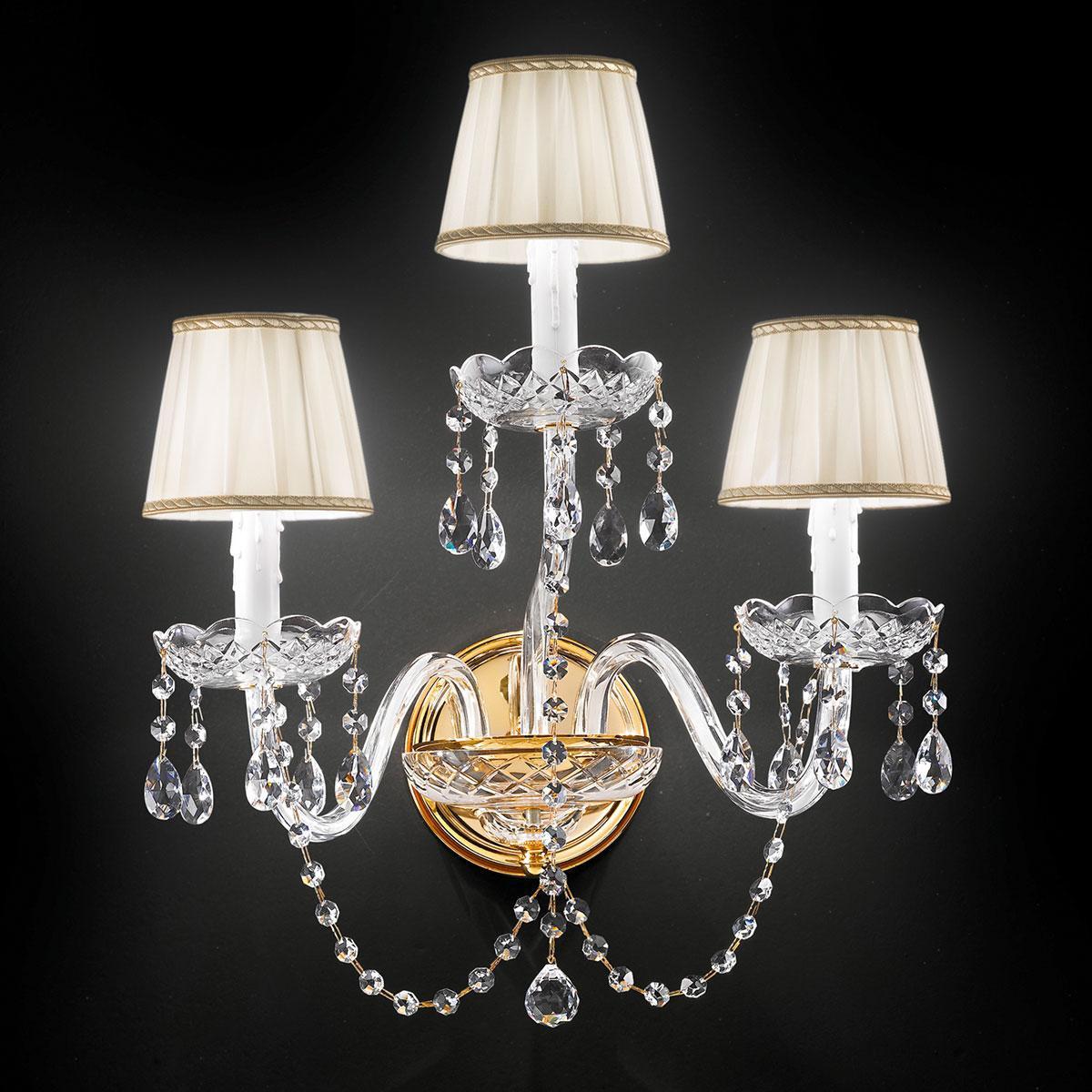 """Barbieri"" venetian crystal wall sconce - 2+1 lights - transparent with Asfour venetian crystal"