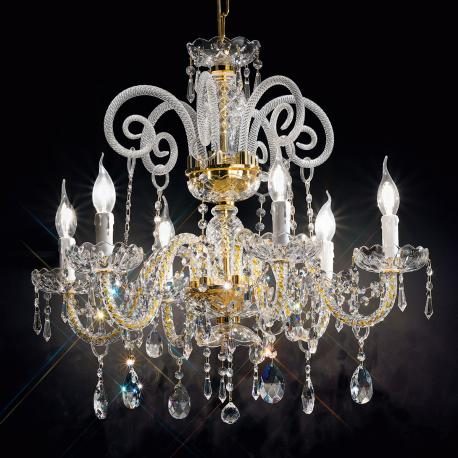 """Signorini"" venetian crystal chandelier - 6 lights - transparent with Asfour venetian crystal"