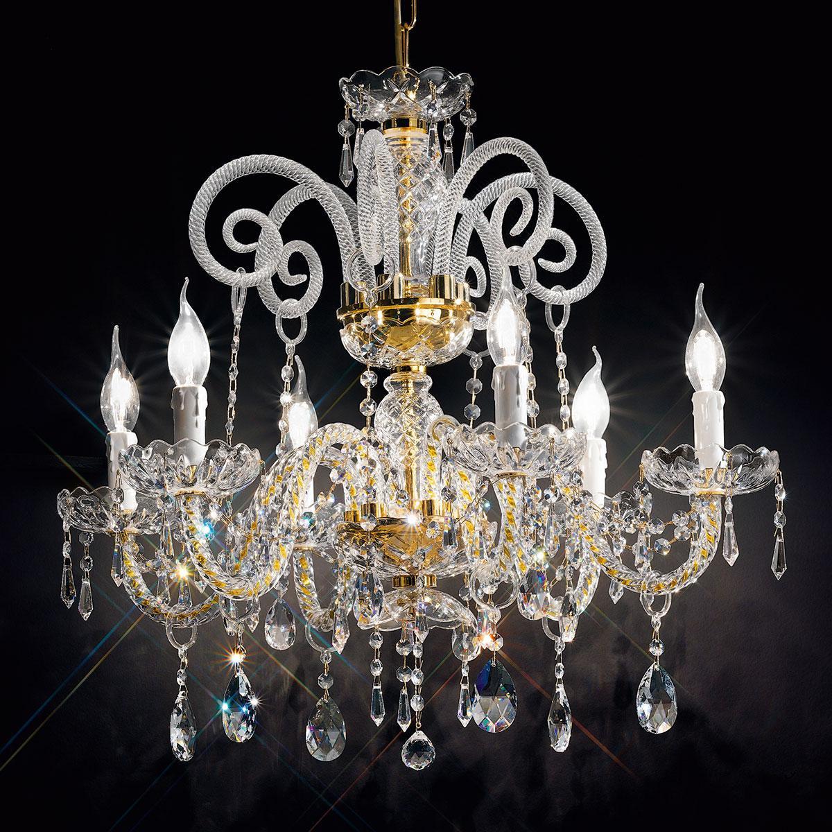 """Signorini"" venezianischer kristall kronleuchter - 6 flammig - transparent mit kristal Asfour"