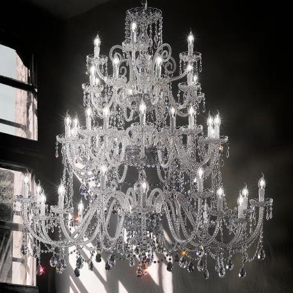 """""""Signorini"""" araña grande en cristal veneciano - 16+16+8+4 luces - transparent con cristal Asfour"""