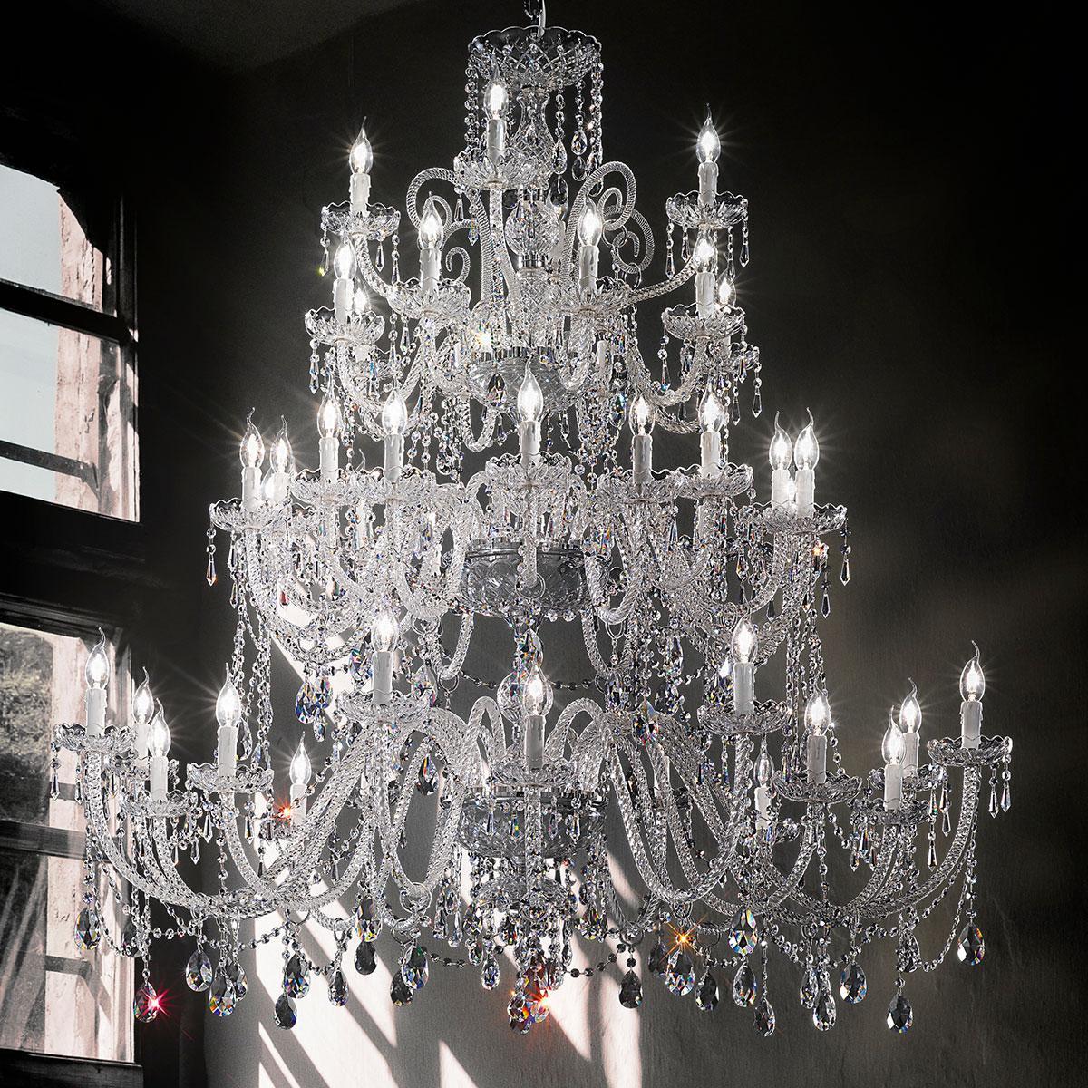 """""""Signorini"""" große venezianischer kristall kronleuchter - 16+16+8+4 flammig - transparent mit kristal Asfour"""