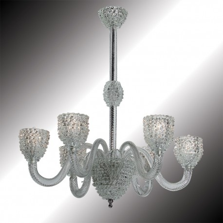 """""""Ghiaccio"""" 6 lights transparent and white Murano glass chandelier"""