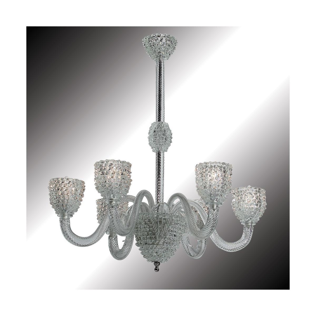 """Ghiaccio"" lustre en verre de Murano transparent et blanc 6 lumières"