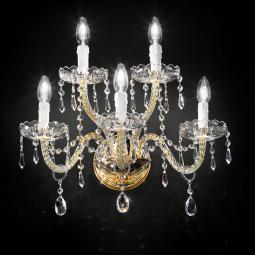 """Signorini"" venetian crystal wall sconce - 3+2 lights - transparent with Asfour venetian crystal"