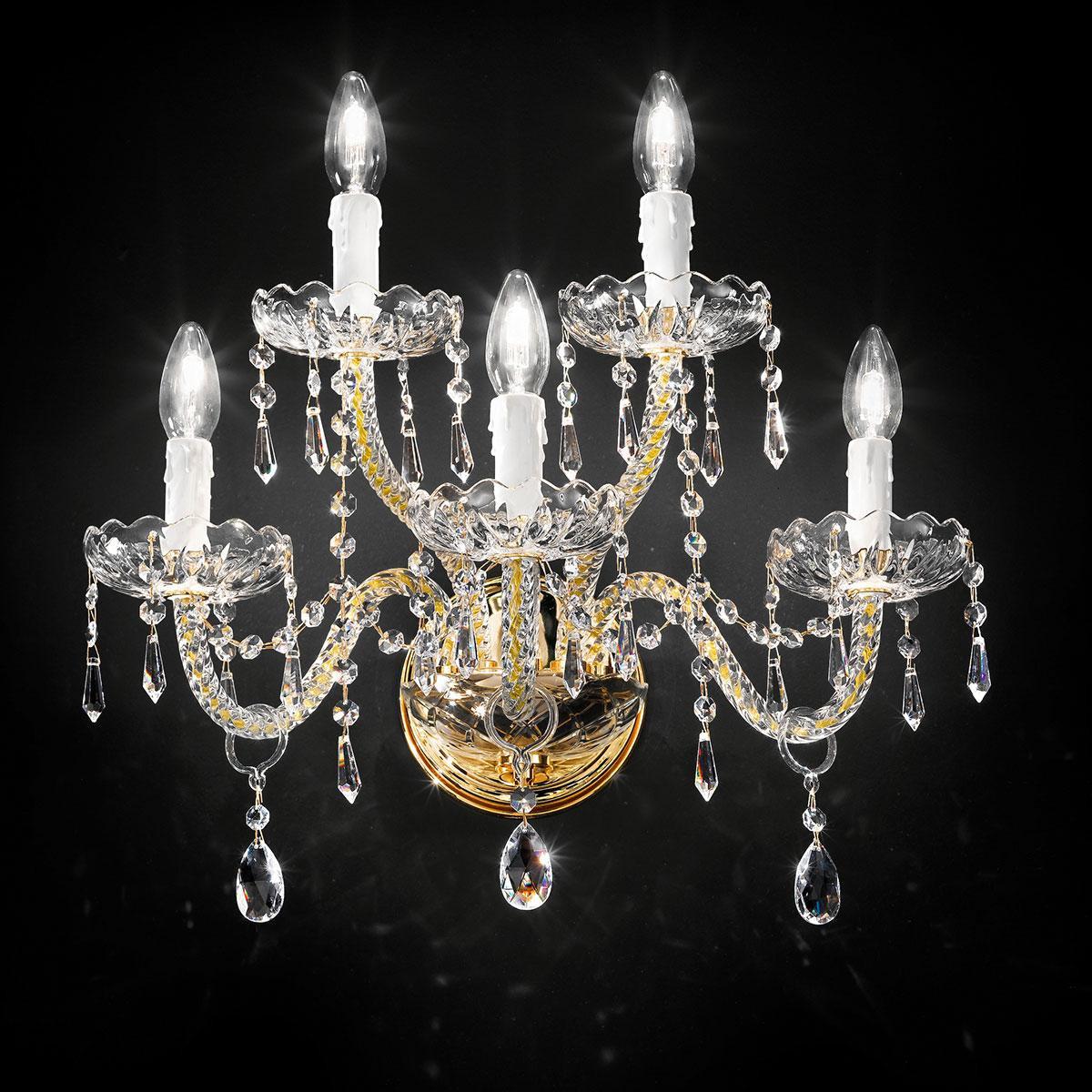 """""""Signorini"""" aplique veneciano de pared en cristal - 3+2 luces - transparente con cristal Asfour"""