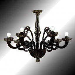 """Medea"" black and gold Murano glass chandelier"