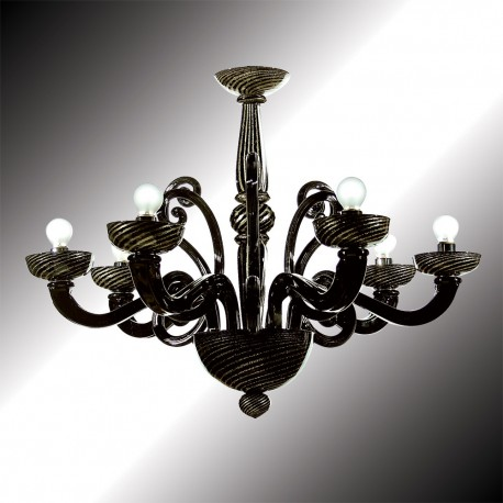 """Medea"" 6 lights black and gold Murano glass chandelier"