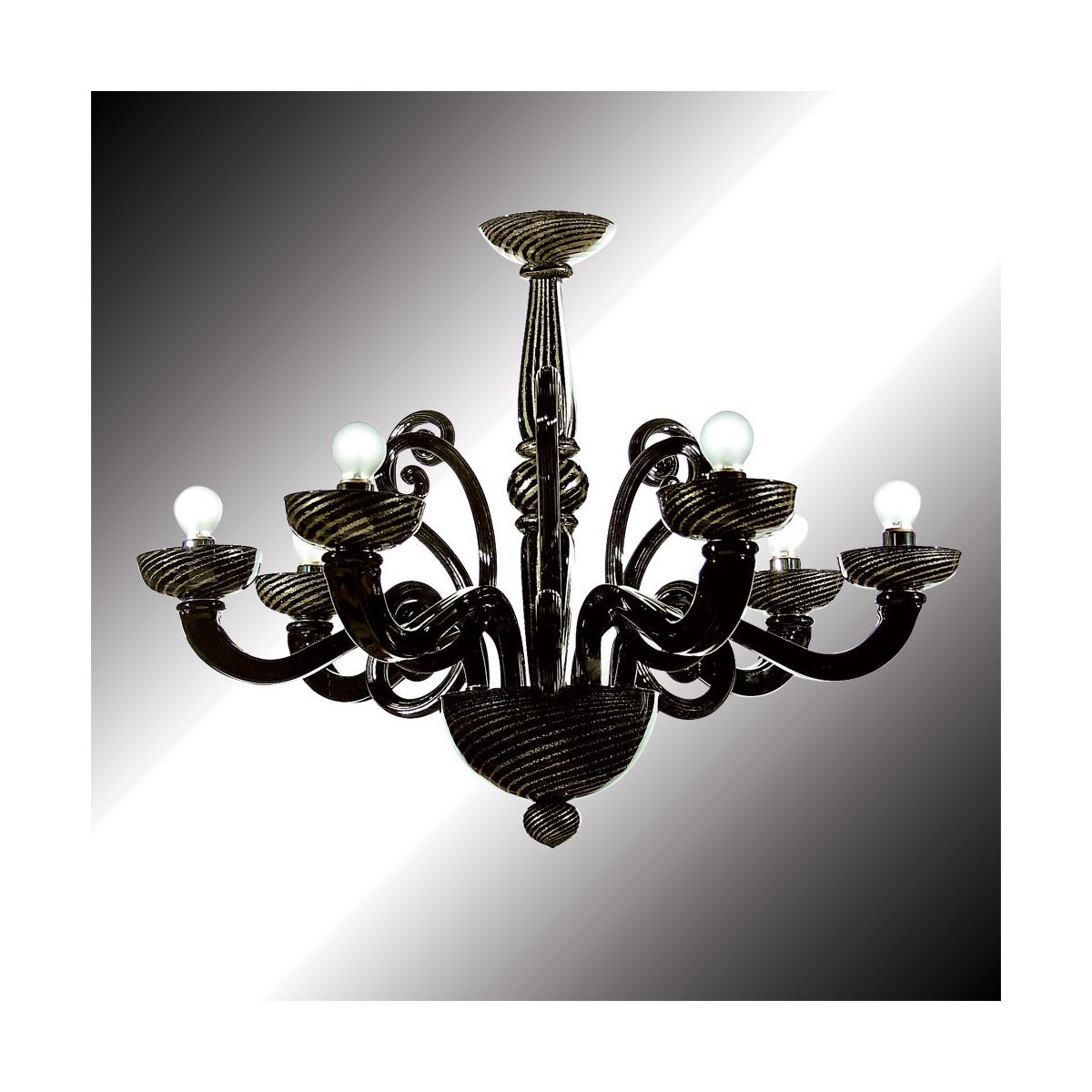 """""""Medea"""" lustre en verre de Murano noir et or 6 lumières"""