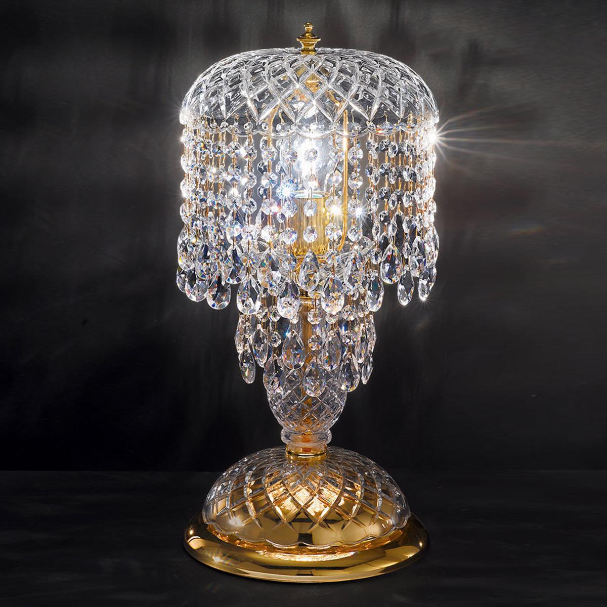 """""""Signorini"""" lampara grande de mesita veneciana en cristal - 1 luce - transparente con cristal Asfour"""